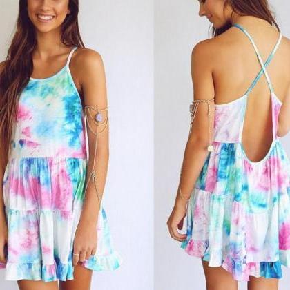 PRINTING COLOR DRESS SEXY BACKLESS ..