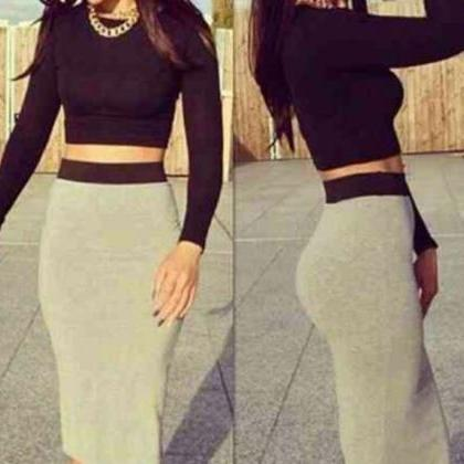 HOT GREY BLACK TWO PIECE DRESS