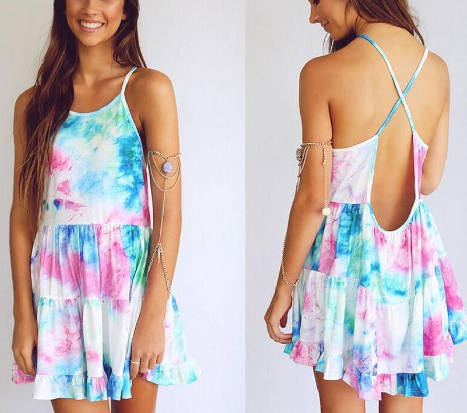 PRINTING COLOR DRESS SEXY BACKLESS CONDOLE DRESS