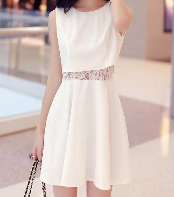 CUTE LACE WAIST SEXY DESIGN FRESH DRESS