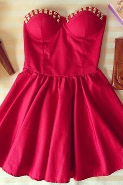HOT CUTE STRAPLESS RED DRESS