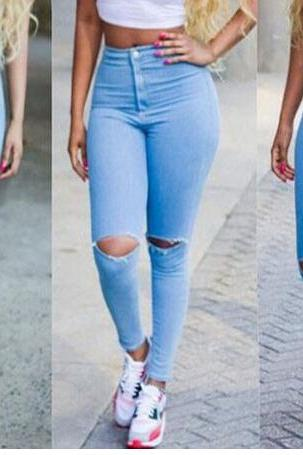 Light-Washed High Rise Ripped Knee Hole Skinny Jeans
