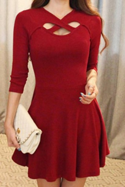 FASHION RED HOLLOW OUT SEXY DRESS