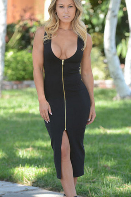 DEEP V SEXY ZIPPER DRESS