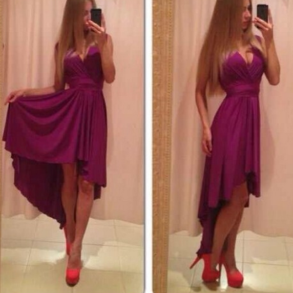 V IS GOTTEN AFTER SHORT BEFORE LONG PURE COLOR CHIFFON DRESS