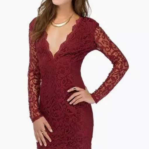 ON SALE BIG V-NECK LACE CULTIVATE ONE'S MORALITY DRESS WITH LONG SLEEVES