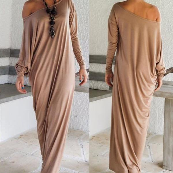 HOT CUTE LONG OFF SHOULDER DRESS