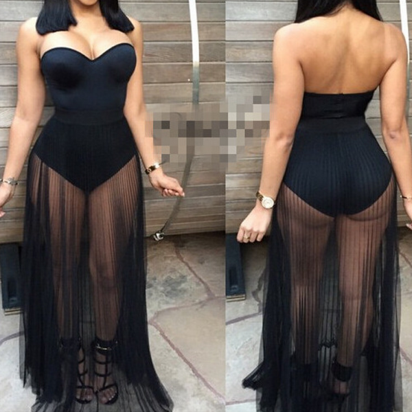 HOT STRAPLESS NET FORK DRESS